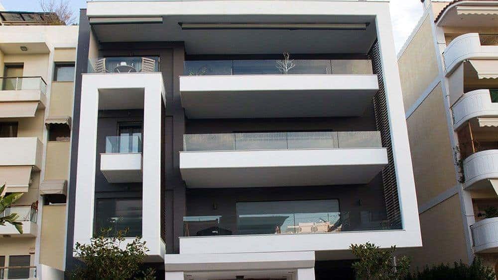 Ελαιοχρωματισμός Εξωτερικών Τοίχων Πολυκατοικίας στη Γλυφάδα